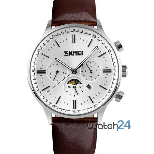 CEAS BARBATESC SKMEI MOONPHASE BROWN-WHITE-SILVER