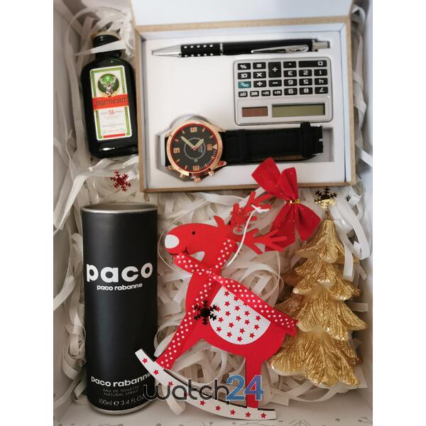 SET CADOU PARFUM PACO RABANNE 100ML + SET (CEAS,PIX,CALCULATOR) + JAGERMEISTER 0.4ML + DECORATIUNI