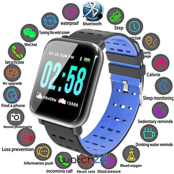 Smartwatch cu Bluetooth, monitorizare ritm cardiac, monitorizare somn, notificari, functii fitness S78