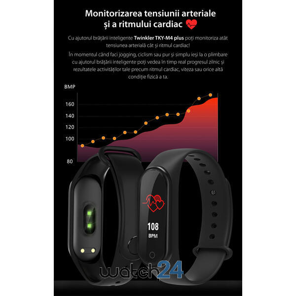 Bratara fitness (V.M4) cu Bluetooth, monitorizare ritm cardiac, notificari, functii fitness S83