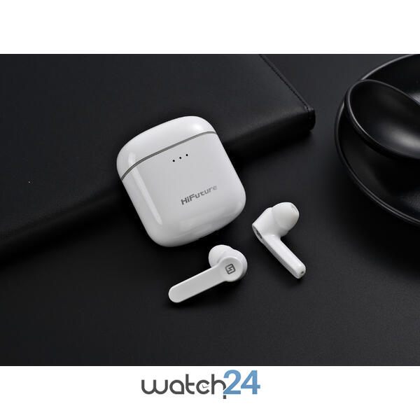 Casti Bluetooth 5.0 HiFuture Flybuds TWS Earbuds, Microfon, raspundere si respingere apel, Accesare vocala Siri sau Google Assistance, HD Voice, Control media, Touch pe casca, Alb